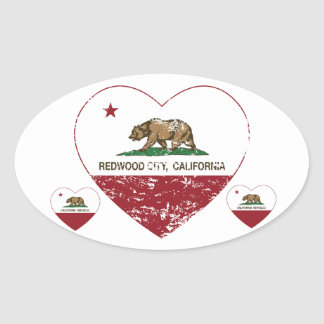 california flag redwood city heart distressed oval sticker