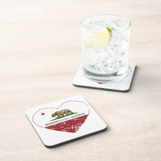california flag redwood shores heart distressed drink coasters