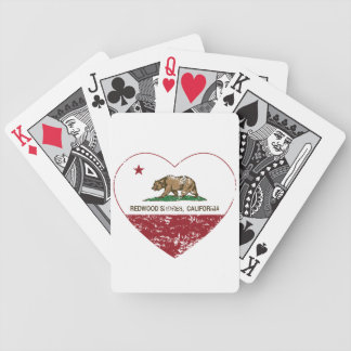 california flag redwood shores heart distressed bicycle poker deck
