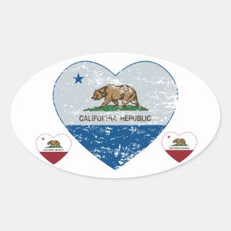 california flag republic heart blue and grey oval sticker