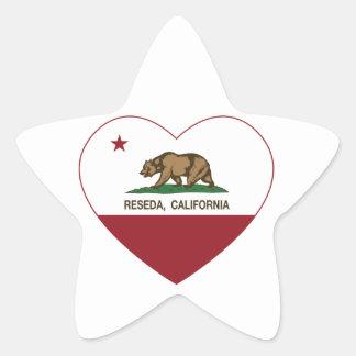 california flag reseda heart star sticker