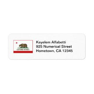 California Flag Return Address Label