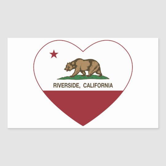 california flag riverside heart rectangular sticker
