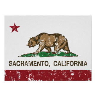 california flag sacramento distressed poster