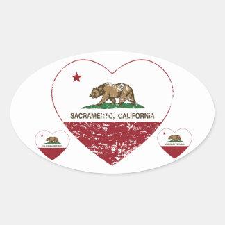 california flag sacramento heart distressed oval sticker