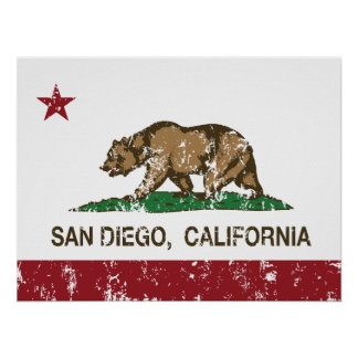 california flag san diego distressed posters