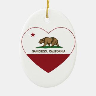 california flag san diego heart christmas ornament