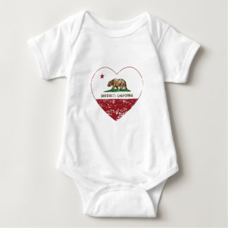 california flag san diego heart distressed baby bodysuit