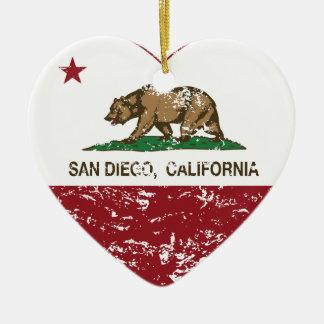 california flag san diego heart distressed christmas ornament