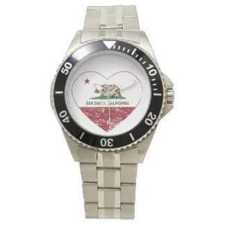 california flag san diego heart distressed watch
