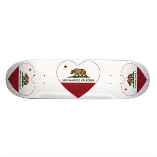 california flag san francisco heart 19.7 cm skateboard deck