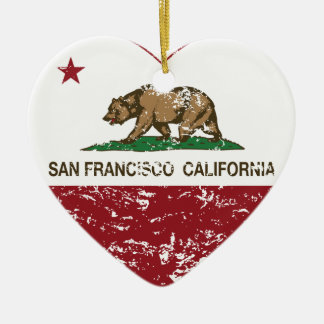 california flag san francisco heart distressed christmas ornament