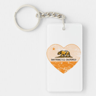 california flag san francisco heart distressed Double-Sided rectangular acrylic key ring