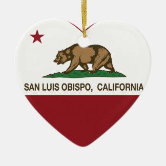 california flag san luis obispo heart christmas ornament