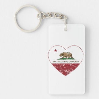 california flag san luis obispo heart distressed Double-Sided rectangular acrylic key ring