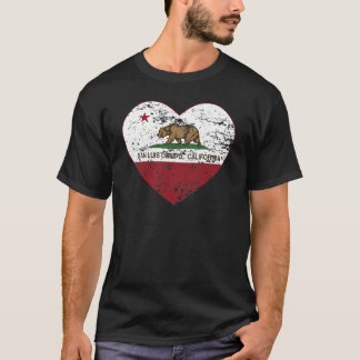 california flag san luis obispo heart distressed T-Shirt