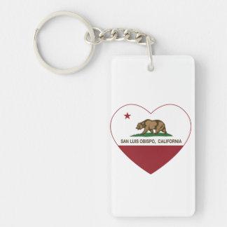 california flag san luis obispo heart Double-Sided rectangular acrylic key ring