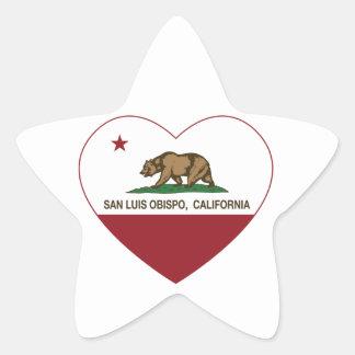 california flag san luis obispo heart star sticker