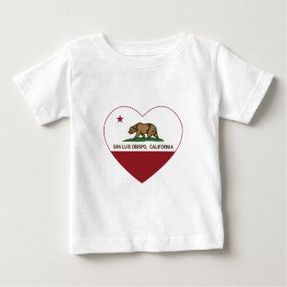 california flag san luis obispo heart tshirt