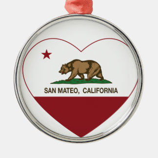 california flag san mateo heart christmas ornament