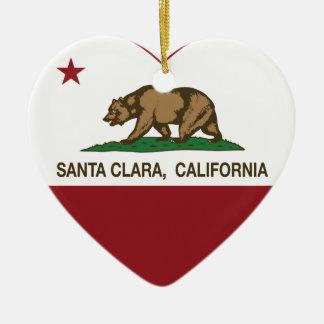 california flag santa clara heart christmas ornament