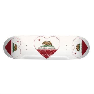 california flag santa cruz heart distressed 18.1 cm old school skateboard deck