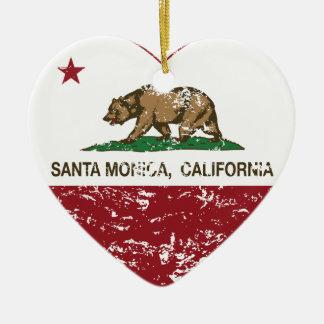 california flag santa monica heart distressed christmas ornament