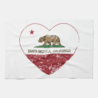california flag santa monica heart distressed tea towel