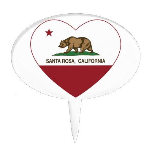 california flag santa rosa heart cake topper