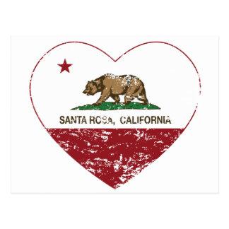 california flag santa rosa heart distressed postcard