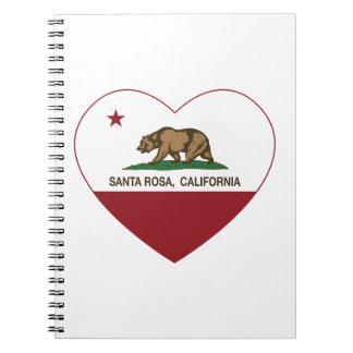 california flag santa rosa heart spiral note books