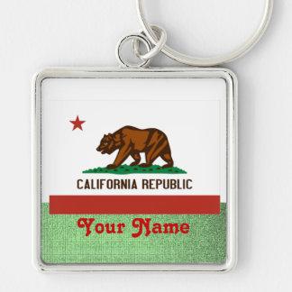 California-  FLAG Silver-Colored Square Key Ring