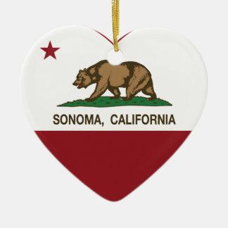 california flag sonoma heart christmas ornament