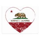 california flag sunnyvale heart distressed postcard