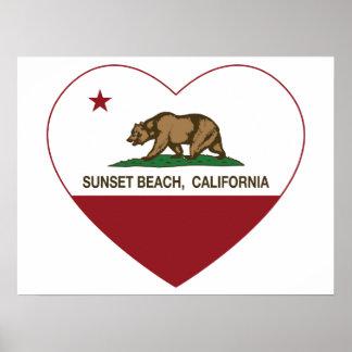 california flag sunset beach heart poster