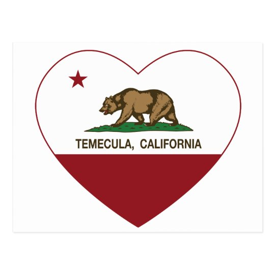 california flag temecula heart postcard