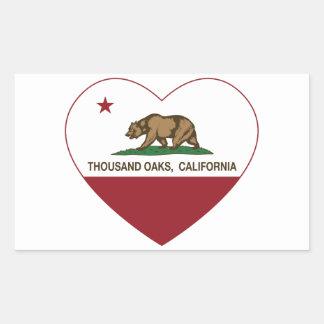 california flag thousand oaks heart rectangular sticker