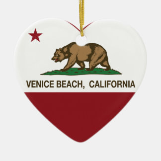 california flag venice beach heart christmas ornament