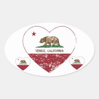 california flag venice heart distressed oval sticker