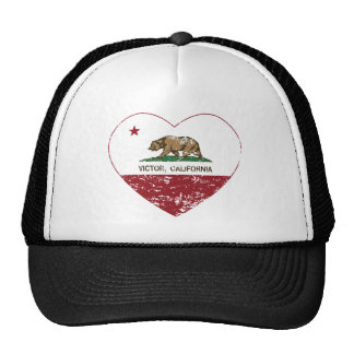 california flag victor heart distressed cap