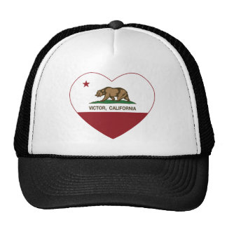 california flag victor heart mesh hats