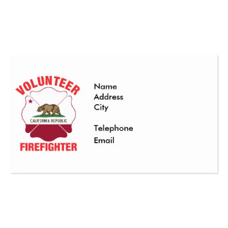 California Flag Volunteer Firefighter Cross Pack Of Standard Business Cards