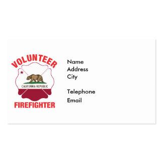 California Flag Volunteer Firefighter Cross Pack Of Standard Business Cards