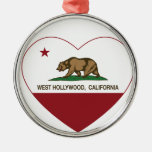 california flag west hollywood heart Silver-Colored round decoration