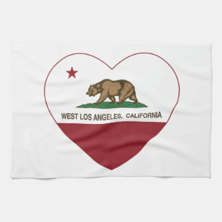california flag west los angeles heart tea towel