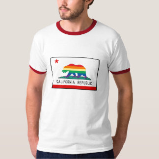 California Flag with Rainbow Bear T-Shirt