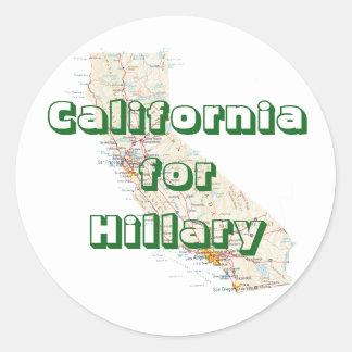 California for Hillary Round Sticker