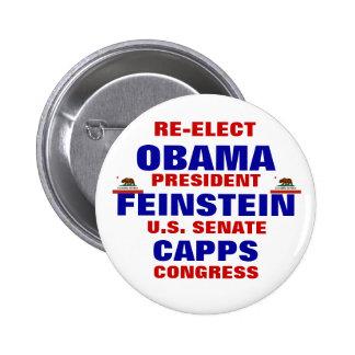 California for Obama Feinstein Capps 6 Cm Round Badge