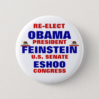 California for Obama Feinstein Eshoo 6 Cm Round Badge