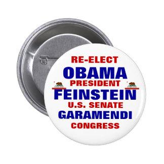 California for Obama Feinstein Garamendi 6 Cm Round Badge